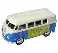 Auto 1:34 Welly 63 VW T1 Bus Love modrý