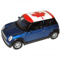Auto 1:34 Welly Mini Cooper Canada modrý