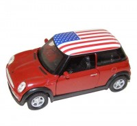 Auto 1:34 Welly Mini Cooper USA červený