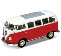 Auto 1:24 Welly VW CLASSIC BUS červený